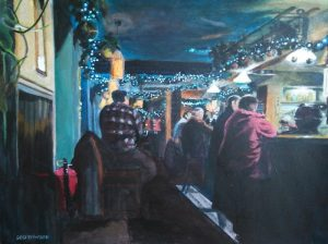 "Christmas at The Queen, Winchester. Acrylics on paper, 9"" x 12"""