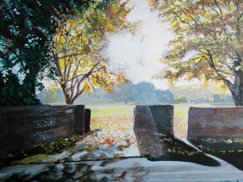 "Painting of Autumn light, Winchester College. Acrylics on paper, 9"" x 12"""