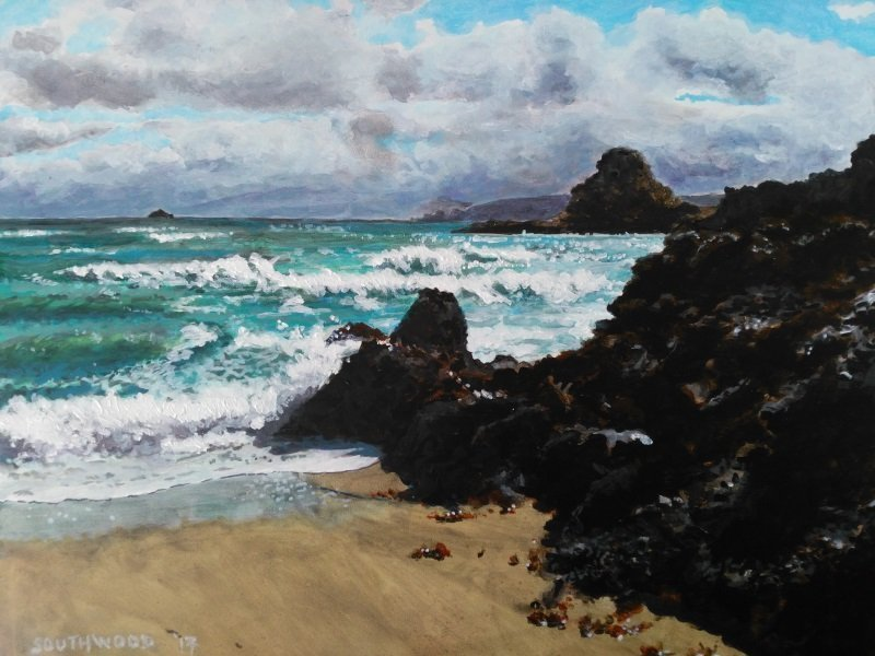 Sun, sea, wind - Belvoir Bay, Acrylics on gesso board - 28 x 36 cm