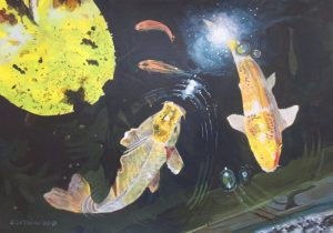 "Painting of Koi carp feeding in a waterlily pond. Acrylics on paper, 9"" x 12"""