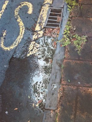 "Painting of a puddle at a bus stop, Winchester. Acrylics on paper, 9"" x 12"""
