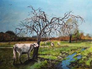 "Water meadow and Cattle , Winchester. Acrylics on paper, 9"" x 12"""