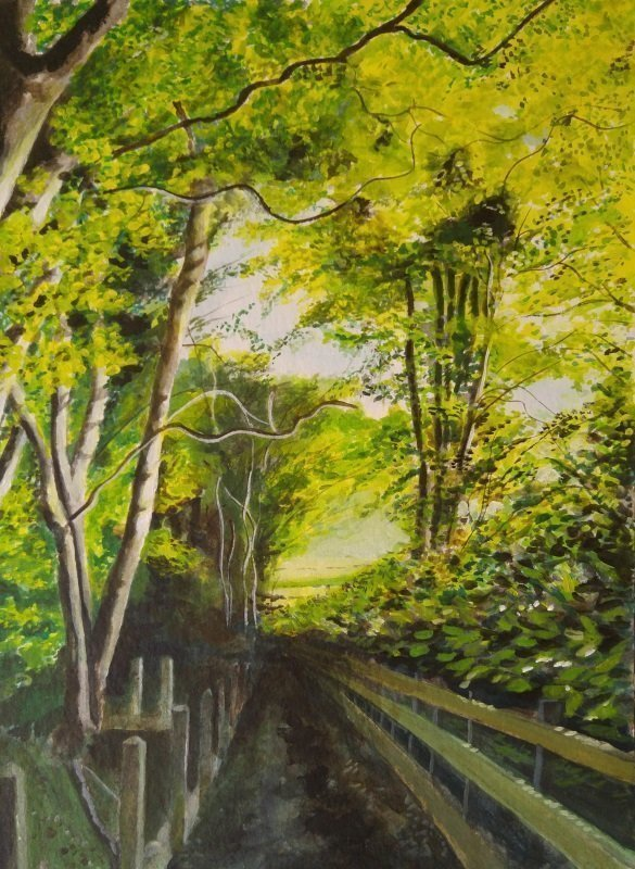 Brown's Walk, Wrecclesham, Acrylics on paper - 31 x 23 cm