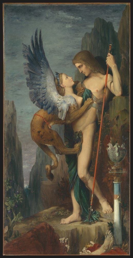 Oedipus and The Sphinx. Gustave Moreau, 1864. Oil on canvas.