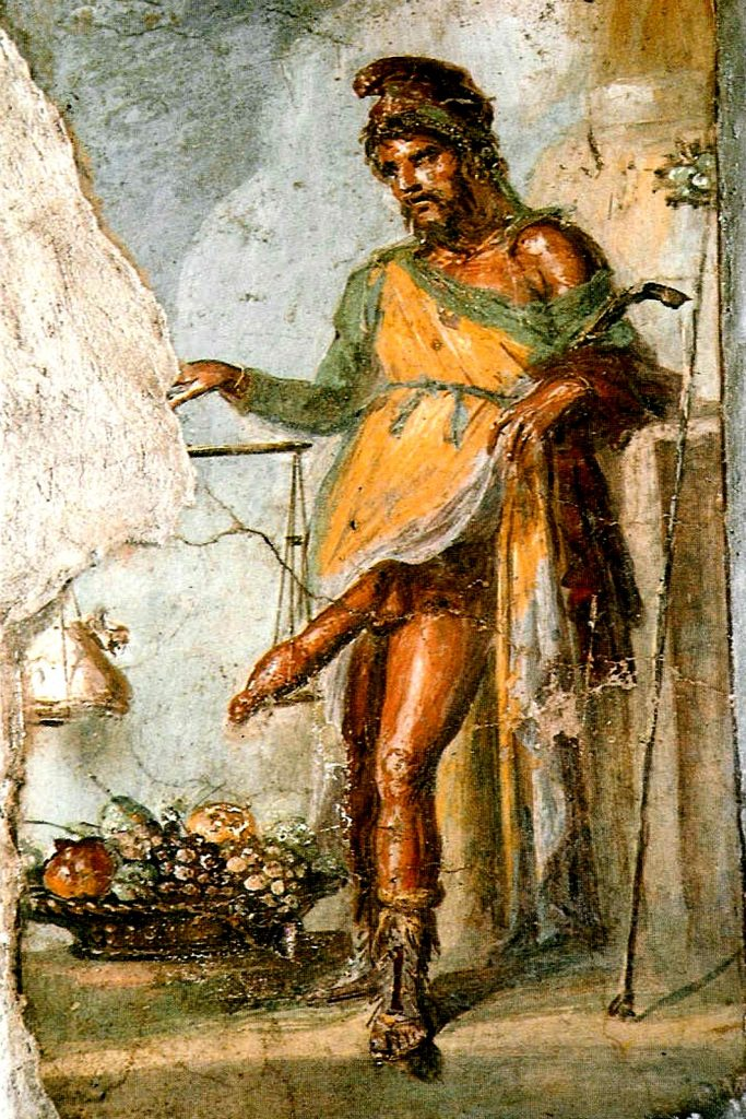 Priapus, from a fresco in Pompeii