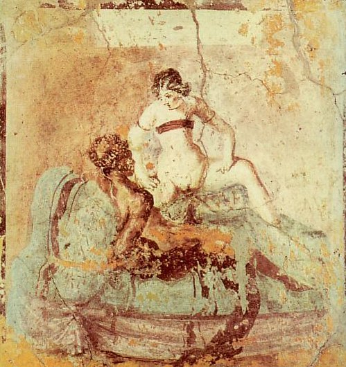 Sexual scene on a Pompeian mural