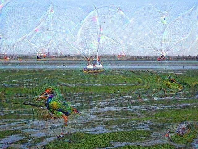 Chichester Harbour processed by DeepDream