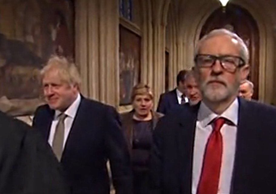 Boris Johson and Jeremy Corbyn - state opening of parliament