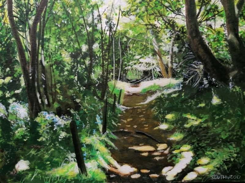 Dappled sunlight, Guernsey. Acrylics on paper - 24 x 32 cm